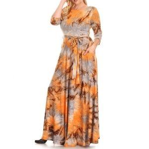 Plus Orange Gray Tie Dye Pocket Maxi Dress